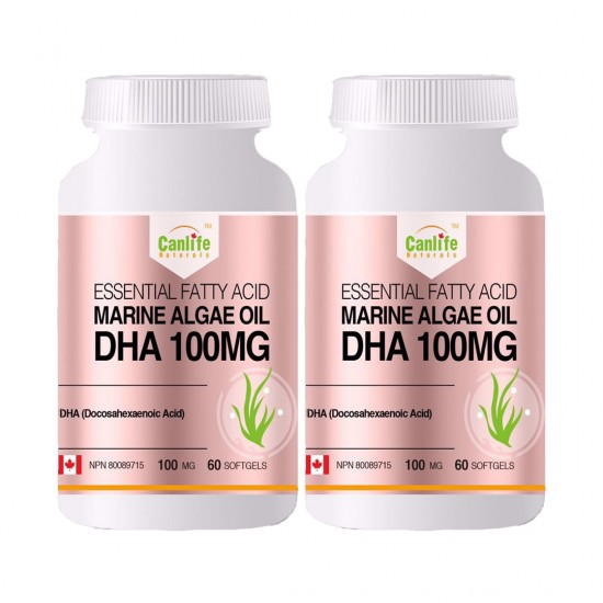 Canlife Naturals Marine Algae Oil DHA 100 mg - 60 Softgels - Two Bottle